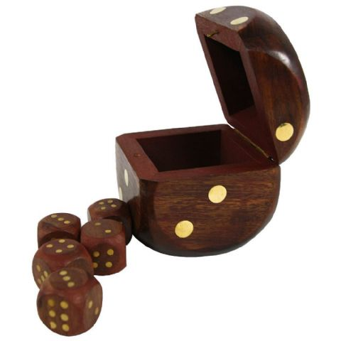 Wooden Brass Inlay Dice Set